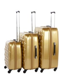 Lulu Guinness Lips gold suitcase range