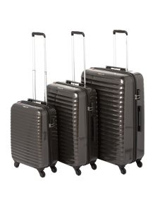 Delsey Axial Elite Charcoal 4 Wheel Luggage Set