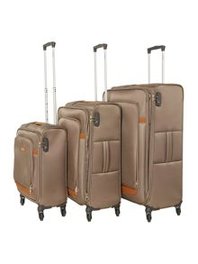 Samsonite Caphir Walnut 4 wheel soft luggage set