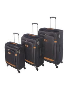 Samsonite Caphir Black 4 Wheel Soft Luggage Set