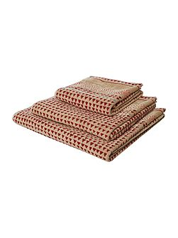 Artisan jacquard red bath sheet