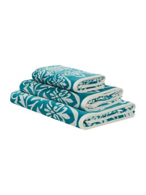 Living by Christiane Lemieux Sunbird jacquard towel range in teal