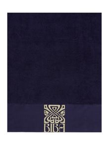Biba Gold logo bath towel range in navy
