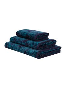 Biba Peacock velour towel range in blue