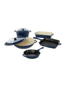 Linea Midnight blue cast iron cookware range