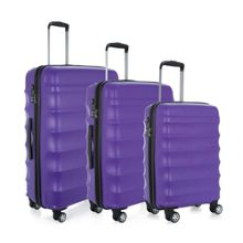 Antler Juno Purple 4 Wheel Hard Luggage Set