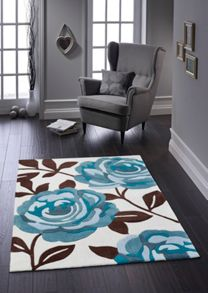 Origin Rugs Teal Rose Bloom Rug Range