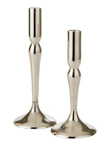 Linea Nickel Finish Candleholder small