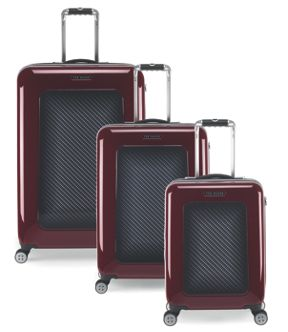 Ted Baker Herringbone Burgundy Luggage Set