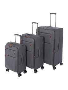 Linea Spacelite II grey 8 wheel luggage set