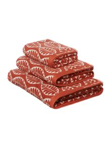 Dickins & Jones Maple leaf jacquard towel range orange