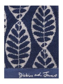 Dickins & Jones Maple leaf jacquard towel range indigo