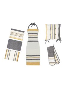 Gray & Willow Yellow stripe kitchen linen range