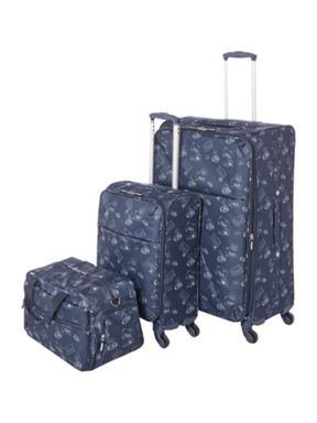 Dickins & Jones Voyage print navy 4 wheel luggage set