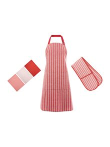 Linea Butcher Stripe Red Kitchen Linen Range