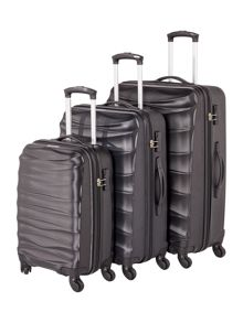 Linea Wave black 4 wheel luggage set