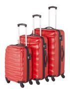 Linea Wave red 4 wheel luggage set
