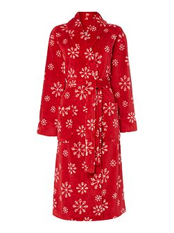 Snowflake fleece robe red m/l
