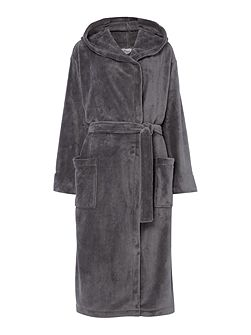 Fleece robe with hood in charcoal m/l