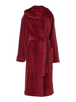 Fleece robe with hood in red m/l