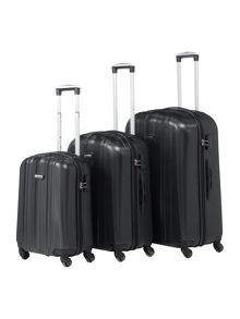 Linea Boston Black 4 Wheel Luggage Set
