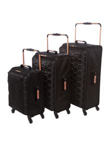 Linea Hexalite Black 4 Wheel Luggage Set