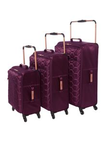 Linea Hexalite Aubergine 4 Wheel Luggage Set