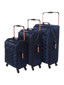 Linea Hexalite Navy 4 Wheel Luggage Set