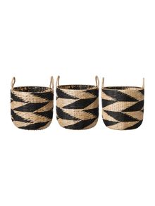 Living by Christiane Lemieux Black & Natural Rush Basket Range