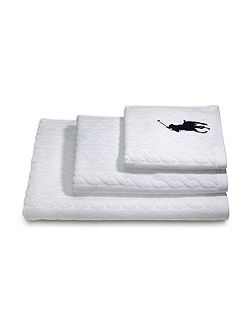 Cable white shower towel 62x137