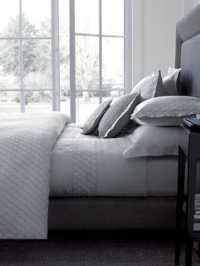 Yves Delorme Losanges silver bed linen