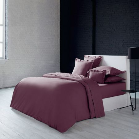 Olivier Desforges Alcove aubergine fitted sheet 160x200