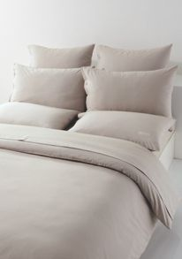 Plain bed linen in stone with logo