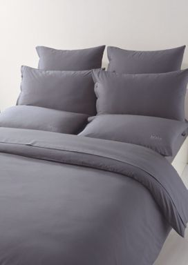 Hugo Boss Plain bed linen with logo in dark grey
