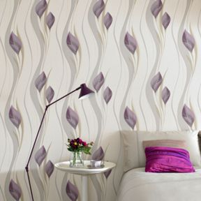 Graham & Brown Plum Cream Peace Wallpaper