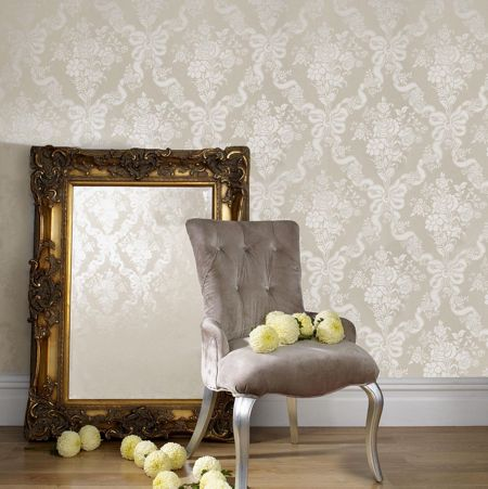 Graham & Brown Beige taupe damask glimmerous wallpaper