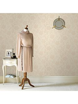 Cream Jacquard Floral Wallpaper