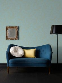 Graham & Brown Aqua & Gold Subtle Leaf Design Wallpaper