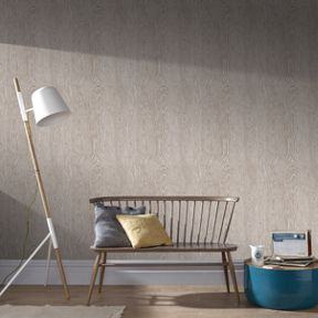 Graham & Brown Beige & Rose Gold Wood Effect Wallpaper
