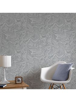 Marbled Grey & Silver Shimmer Wallpaper