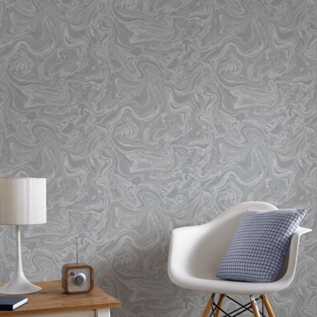 Graham & Brown Marbled Grey & Silver Shimmer Wallpaper