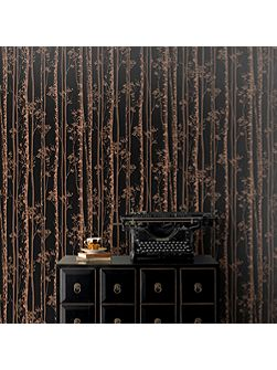 Linden Black/Copper Wallpaper Sample