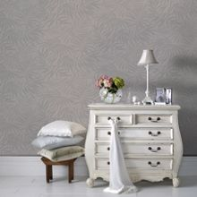 Graham & Brown Beige & Silver Palm Metallic Wallpaper