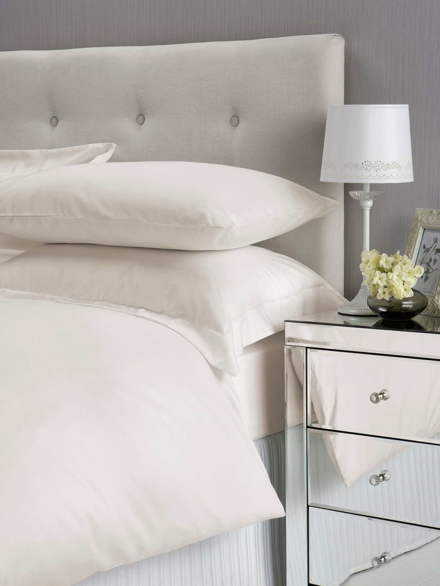 Satin bed linen range in ivory