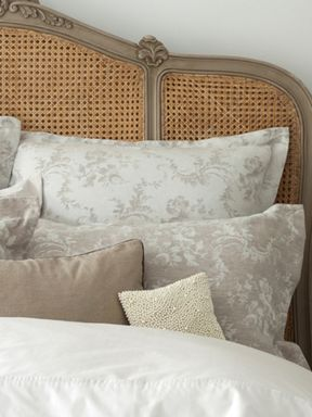 Christy Shadow rose bed linen in natural linen