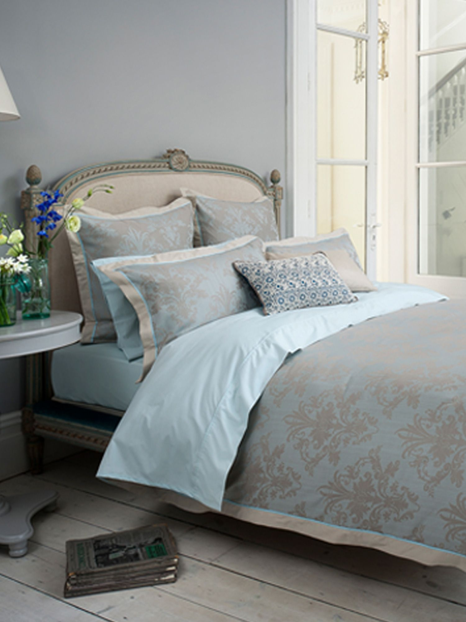 Fitzroy damask bed linen range in oyster
