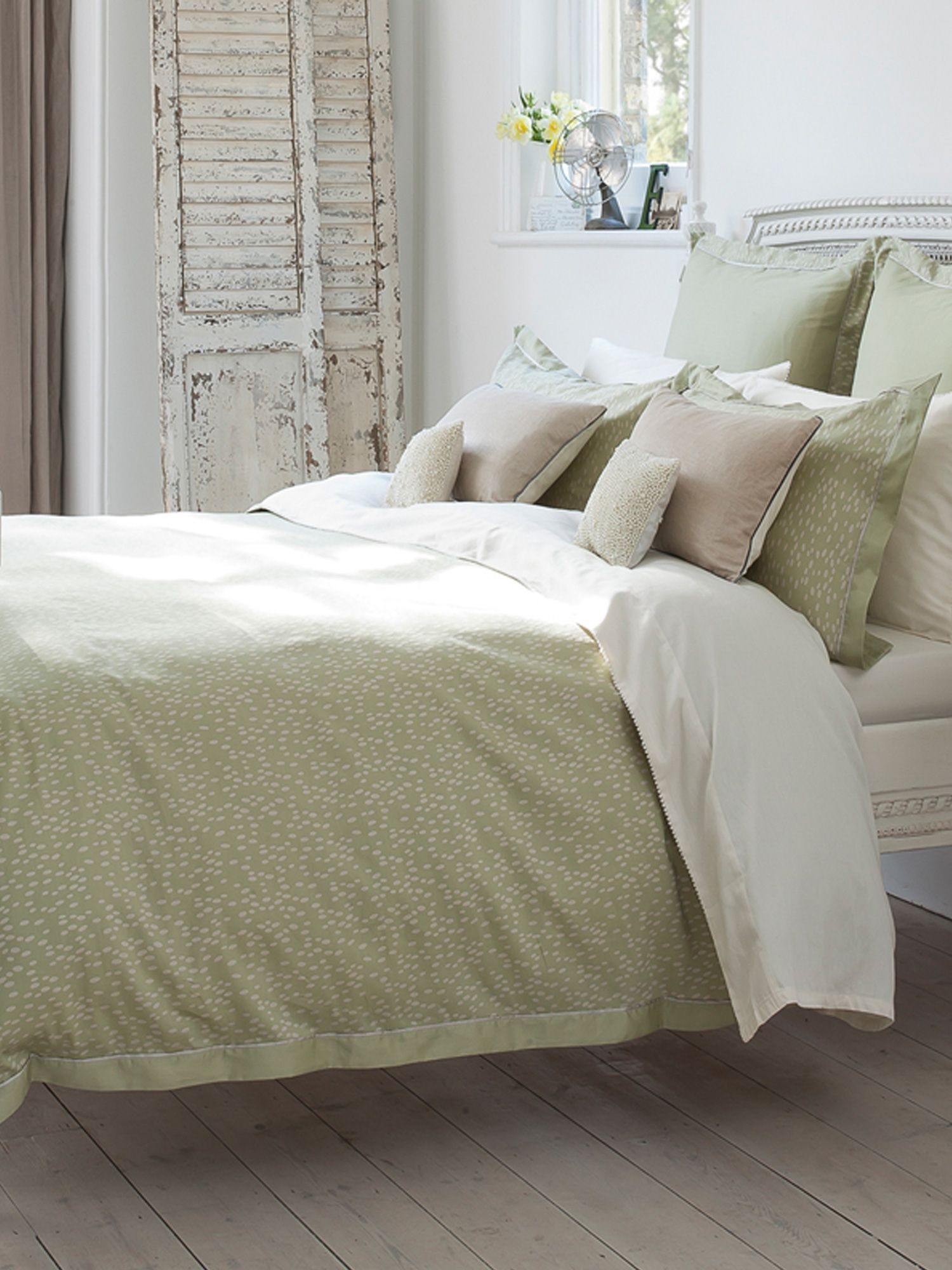 Evelyn bed linen range in sage green