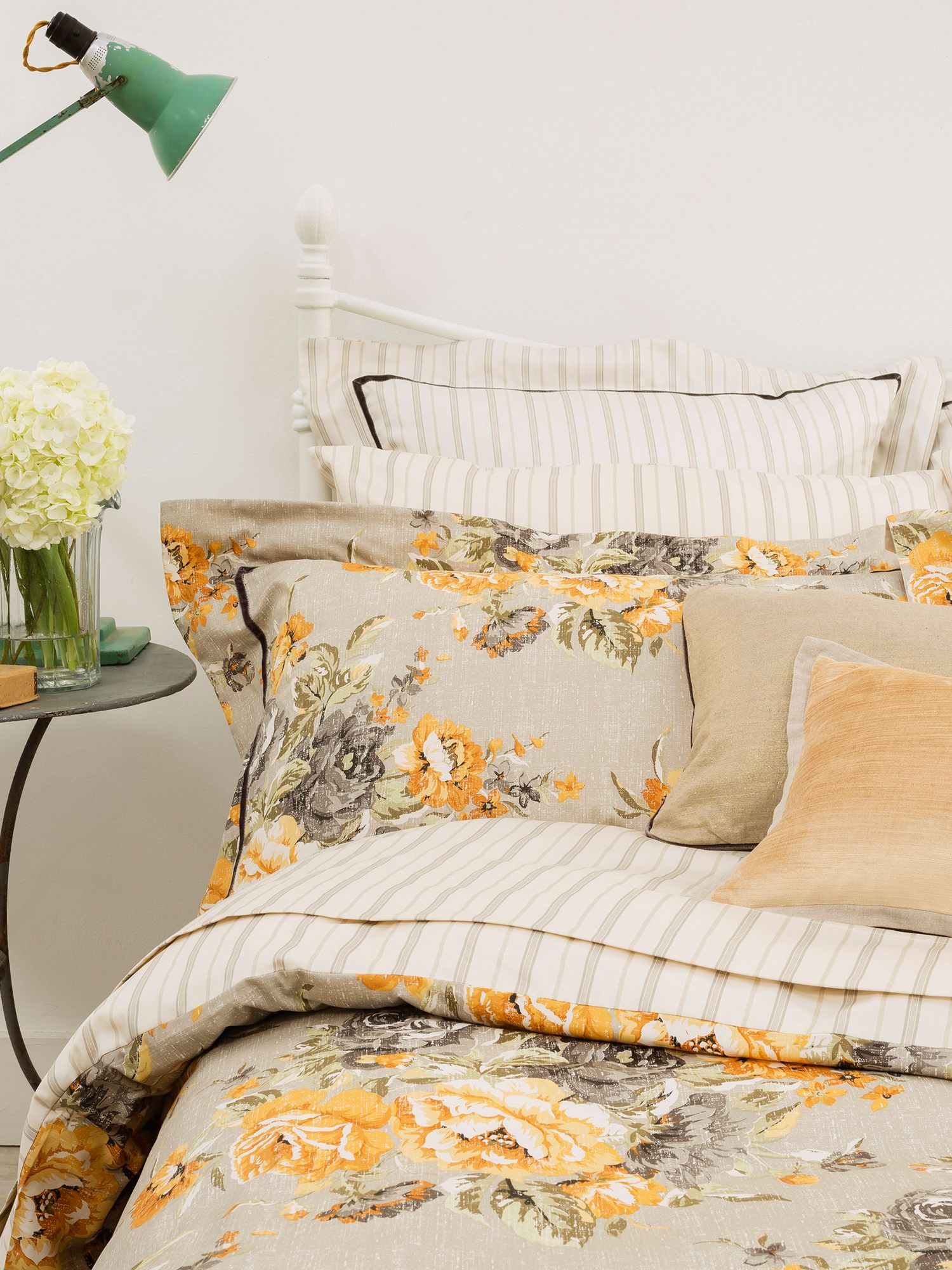 Ochre bloom bed linen