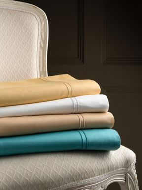 Christy Satin stitch bed linen in white