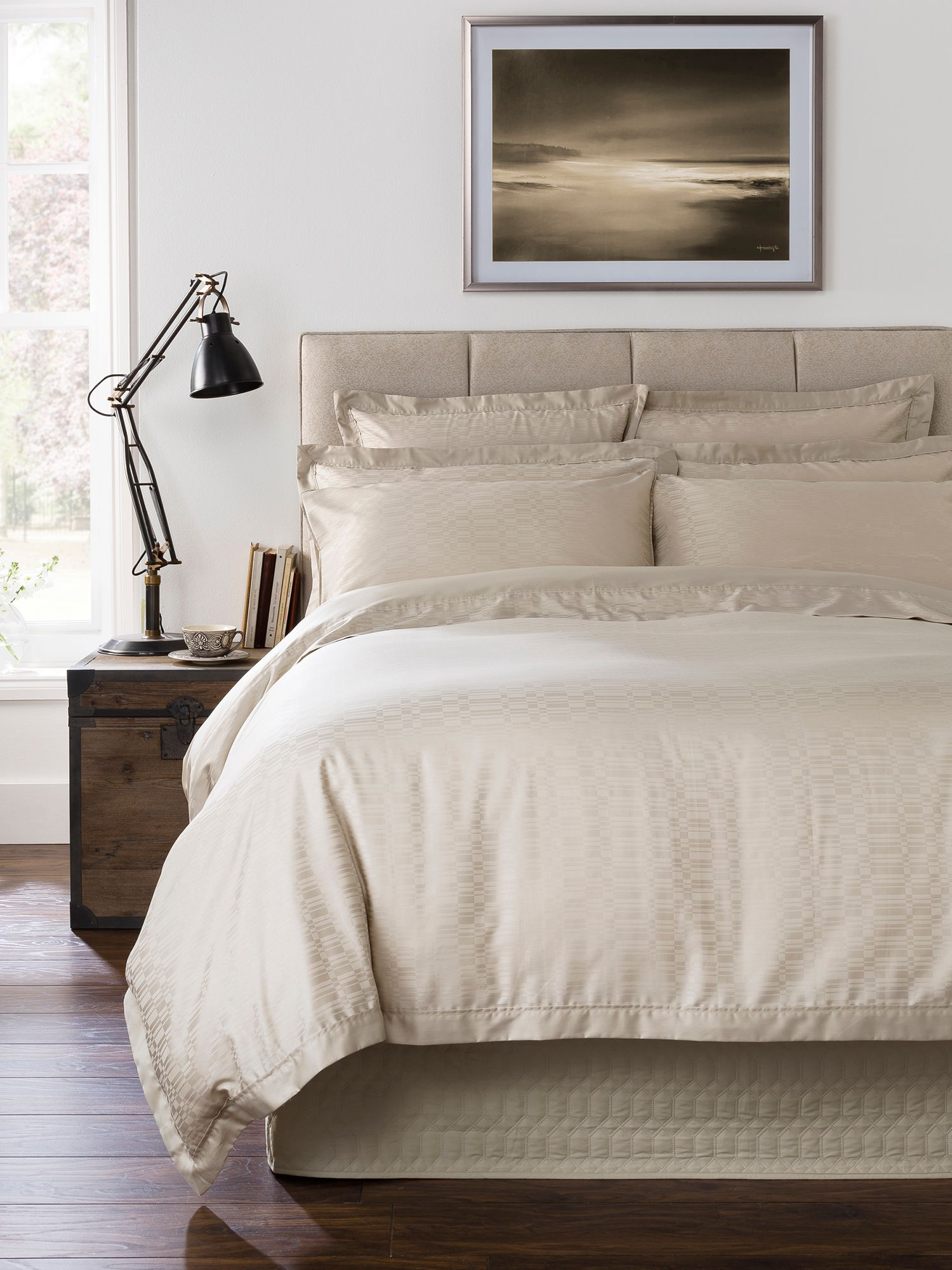 Calgary double fitted sheet pale stone